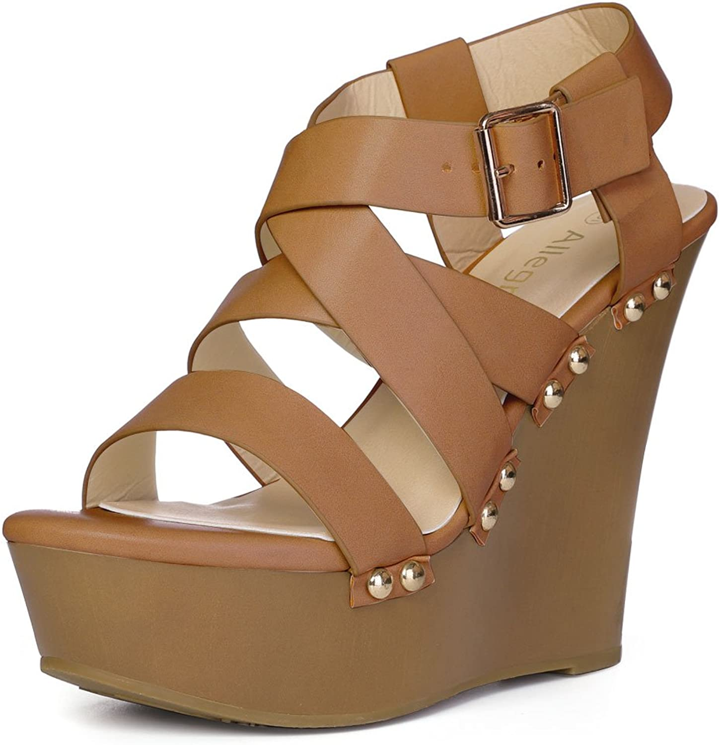 Allegra K Women's Strappy Wedge Sandals