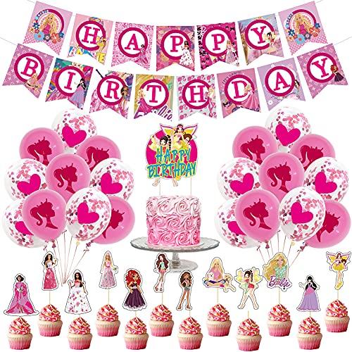 Decoraciones de Cumpleaos Hilloly 32 Piezas Cumpleaos Banner Temticas Decoraciones para Fiestas Banner Temtico Princesa Barbie, Globos, Decoracin de Pastel.