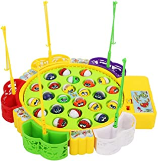 Sipobuy Go Fishing Game Fish Toy Juego de Mesa Musical con 5 cañas de Pescar Juego de rol de Mesa giratoria Regalos para niños Chicas Niños 3 4 5 años de Edad