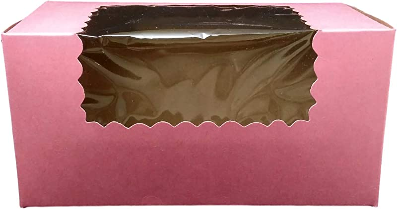 MT Products 8 Length X 4 Width X 4 Height Pink Paperboard Pastry Bakery Box With Window Pack Of 15