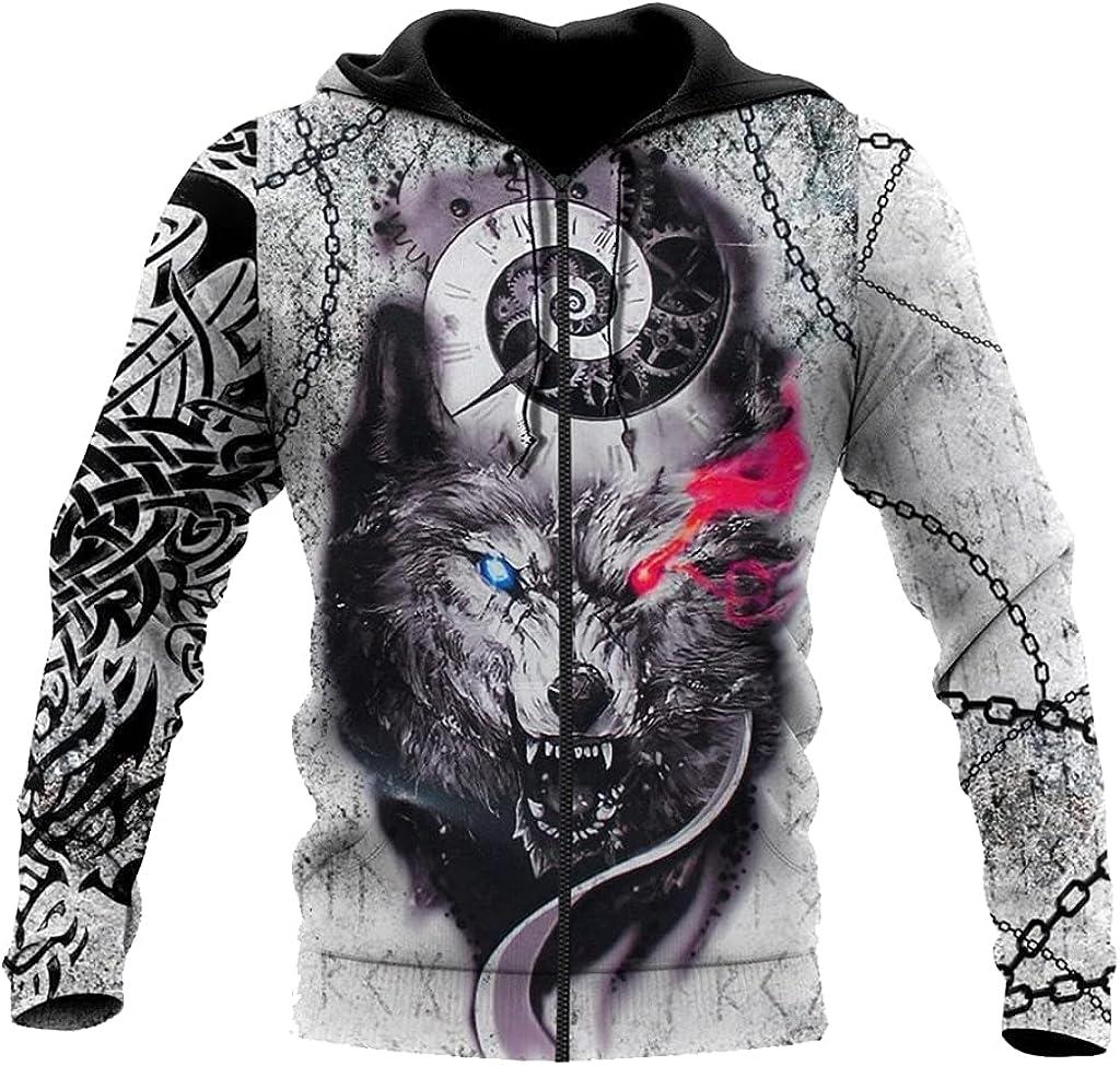 Viking Fenrir Wolf Hoodie 3D Printed Tattoo Fall Long Sleeve Couples Sweater Casual Loose Zip Jacket Nordic Gifts