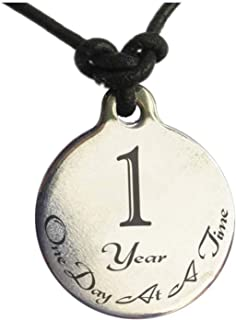 1 Year Sobriety Anniversary Medallion Leather Necklace for Sober Birthday, AA Alcoholics Anonymous, NA Narcotics Anonymous