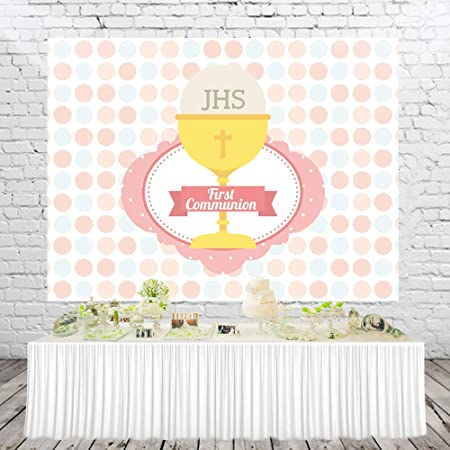 Yeele 6x4ft First Communion Backdrop Baptism Cute Dots Christening God Bless Photography Background Baby Shower Birthday Party Cake Dessert Table Decor Decoation Banner Photo Booth Wallpaper