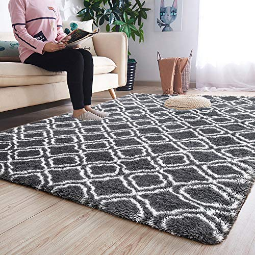 Noahas 5' x 8' Soft Area Rugs for Bedroom Living Room Shaggy Patterned Fluffy Carpets for Nursery Baby Rooms Silky Smooth Fuzzy Kids Play Mats Christmas Thanksgiving Holiday Decor Rug, Grey Trellis