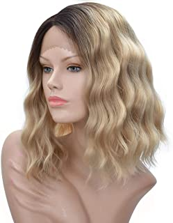 Ash Blonde Lace Front Wig for White Black Women Curly Wavy Shoulder Length Bob Dark Brown Roots Ombre Blonde Lace Front Wigs (12Inch Ash Blonde)
