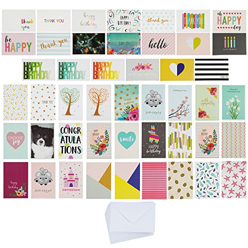 144-Pack All Occasion Greeting Cards - Random Designs Includes Birthday, Congrats, Sympathy, Baby Shower and Thank You Cards, Designs Received May Vary, Bulk Variety Pack with Envelopes, 4 x 6 Inches