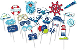 PAPER JAZZ 21 pcs Ahoy boy Nautical Party Photo Booth Props Mustaches Signs Sailor Hats Baby Boy Birthday Cruise Ship Party Supplies (AHOY BOY)