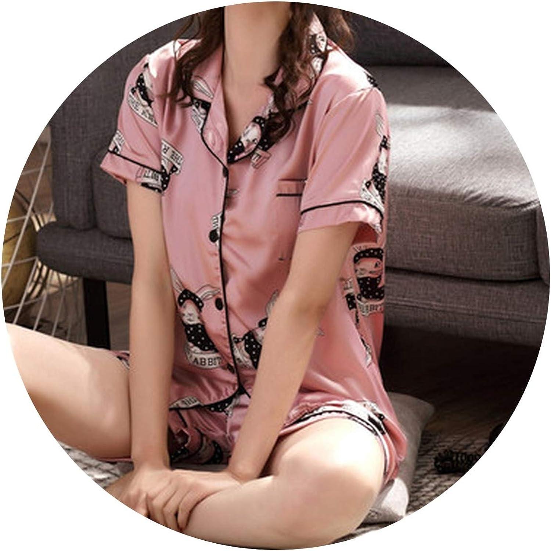 colorful Dream 2019 Sleepwear for Ladies Summer ShortSleeved Luxury Pajamas Set Student Cartoon Thin Silk Simulated Home Suit Women Lingerie,Powder Coating,XL