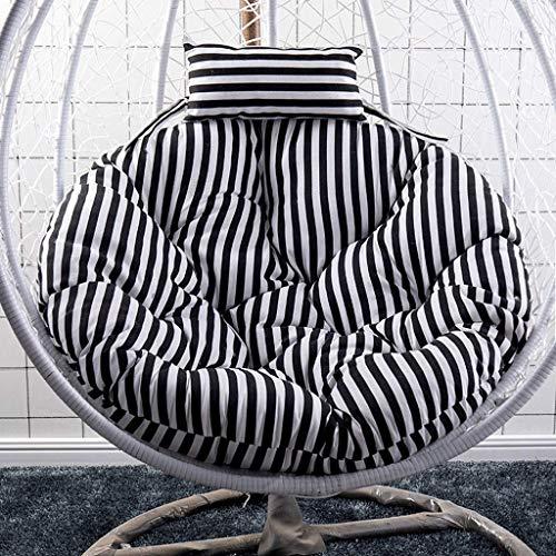 DZX Cojines para sillas Colgantes, Cojín para Silla Tipo Hamaca para Silla Colgante de jardín Interior al Aire Libre, 105 cm de Largo Verde (Color: Negro) (Excluyendo la Silla)