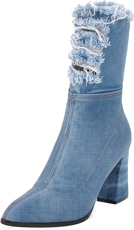 Jushee Womens Juinte 8.5 cm mid-Heel Mid-Calf Zipper Fabric Boots