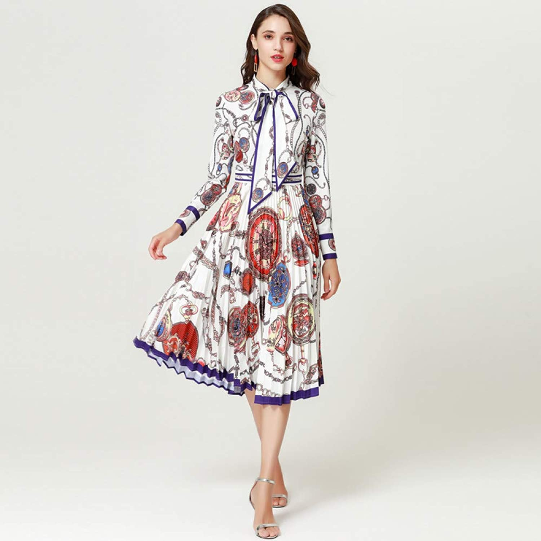 WDBXN Women Dress Bow-Collar Pattern Print Casual Elegant Pleated Dress