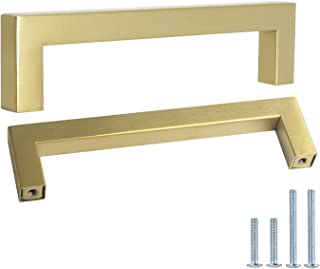 """Probrico Square Cabinet Pull 5"""" Hole Center Stainless Steel 1/2"""" Width Euro Style Bar Handle Brass Chest Knob Modern Cabin..."""