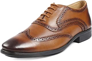 Bacca Bucci® Men's Wingtip Brogue Oxford Handcrafted Handpainted Men's Genuine Leather Lace-up Dress Shoes