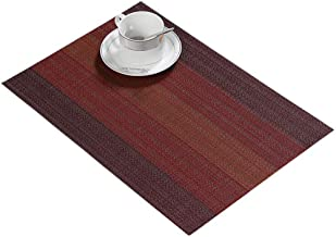 CHERRY.1 Set of 4 Rectangle Colorful Dark Red Bohemian Ethnic Style Stripes Woven Braided PVC Place Mats for Western Food Mat Heat Insulation Durable Non-Slip Coaster Cup Table Dish Mats 11.8X 17.7