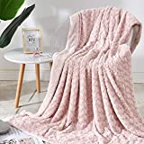 Vangao Throw Blanket Rose Pattern Floral Design Soft Cozy Blanket Gift for Girls Bedroom Sofa Couch Chair Bed 50x60 inch Pale Pink Color