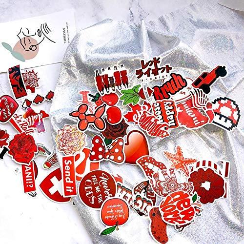 BLOUR 50 Piezas Rojo Vsco Chica pequeña Pegatina Fresca Maleta con Ruedas portátil Graffiti Pegatina PVC Pegatinas Impermeables