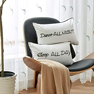 Sanmetex 2PCS Back to School Embroidery Decorative Throw Pillow Covers 12 X 20 for Lumbar Pillows - Dance All Night Sleep All Day