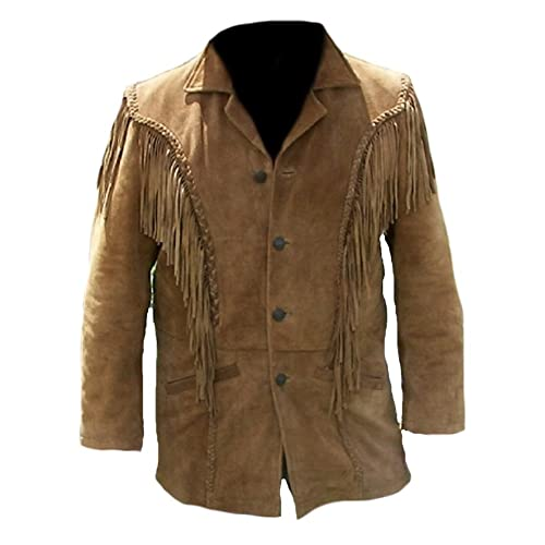 4a60bbedfa9d Classyak Men s Western Fringed Suede Coat