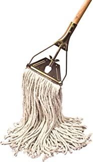 Tidy Tools Cotton String Mop with Wooden Handle and Brass Metal Frame, 18'' Long Mop Head (White, 20.5 Oz)