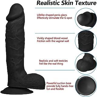 Asdfgh Lifelike Big Monster Waterproof Handsfree Handheld Private Tool for Women Couples, Pleasure Massaging Wand Pleasure (Color : Black)