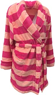 Croft & Barrow Womens Soft Plush Pink & Peach Striped Robe Short Housecoat