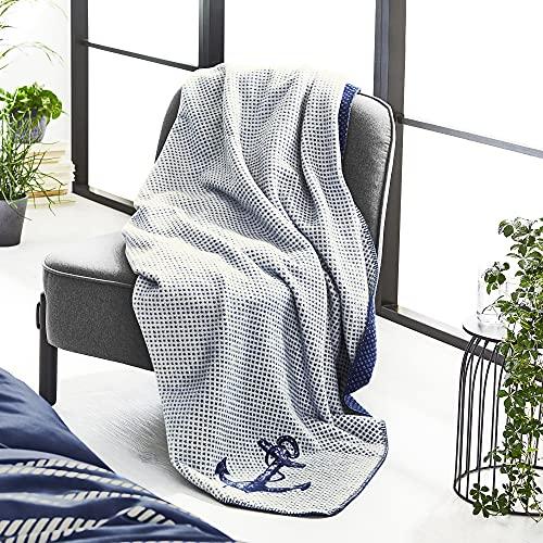 Ibena Fehmarn Kuscheldecke 150x200 cm - Maritime Decke Anker wollweiß dunkelblau, Leicht zu pflegene & kuschelweiche Baumwollmischung