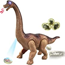 Liberty Imports Egg Laying Jurassic Brachiosaurus Dinosaur Electronic Battery Powered Toy Figure with Swinging Action, Roaring Sounds and LED Lights - Large Walking Dinosaurs Gift for Kids Boys Girls