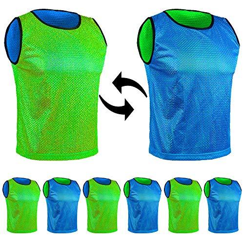 SPORTSBIBS - Juego de 6 baberos de fútbol (6 unidades, 6 unidades), diseño de rayas, color negro, azul-verde, L 170-179cm (Seniors)