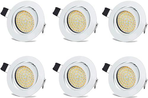 Spots LED Interieur Blanc Plafonnier Encastrable Orientable Rond 3.5W Ultraslim Blanc Chaud 3000K 400LM 230V IP20 pou...