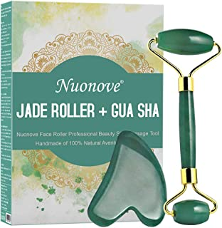 Face Ficial Jade Ice Roller - Natural 100% Real Jade Roller Anti Wrinkle Gua Sha Tool With Cooling Ice Roller for Face & E...