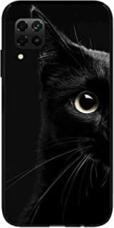 Okteq Clear TPU Protection and Hybrid Rigid Clear Back Cover Compatible with Huawei Nova 7i - black cat head