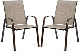 Giantex 2 Piece Patio Chairs, Outdoor Camping Chairs with Breathable Fabric, Set of 2 Garden Chairs with Armrest High Backrest for Garden Patio Pool Beach Yard Space Saving (1, Grey)