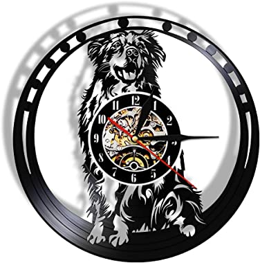Australian Shepherd Dog Breed Vinyl LP Record Wall Clock Aussie Puppy Pet Store Decorative Wall Watch Doggie Lover LED Lights