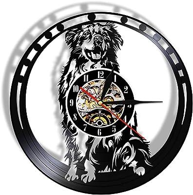 Australian Shepherd Dog Breed Vinyl LP Record Wall Clock Aussie Puppy Pet Store Decorative Wall Watch Doggie Lover LED Lights