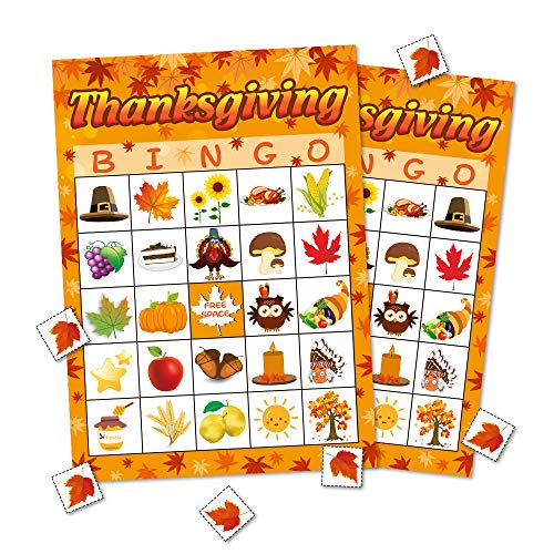 Thanksgiving Day Bingo Game Party Supplies Gift for Kids Adult 24 Player