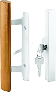 Prime-Line Products C 1316 Patio Door Handle Set, 3-15/16in Diecast, Wood Pull, White, Mortise, Keyed, Pack of 1