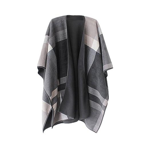 5fb86c797 VamJump Women Open Front Thick Oversized Fleece Blanket Poncho Cape Shawl