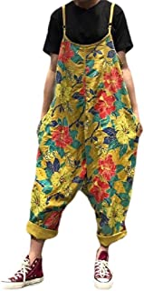 Howely Womens Jumpsuit Oversized Print Linen Relaxed Navajo Palazzo Trousers