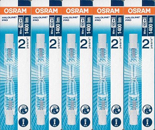5 Stück Osram Halogenstablampe Haloline Pro, 64690, R7s, 230V, Länge: 78mm (80...