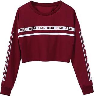 Fossen Mujer Sudaderas Letras Real Impresión Camiseta Blusa Superior