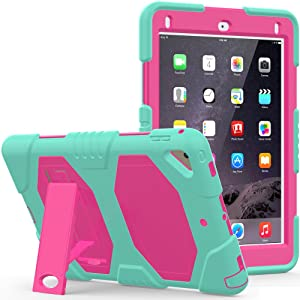 CSLU iPad 9.7 2018/2017 Case, [Kickstand]Heavy Duty Shockproof Rugged Hybrid Impact Resistant Armor Defender Full Body Protective Silicone Cover for Apple iPad 9.7 inch Tablet, Light Blue/Rose