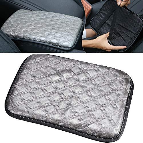 ILS – Consola de piel gris para coche reposabrazos central consola central caja cojín universal 30 x 20 cm