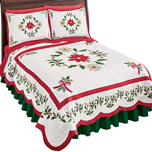 Collections Etc Christmas Evergreen Garland Quilt with Red and White Poinsettias, Holly Leaves, and Berries - Holiday Bedroom Decor, Red and Green, Full/Queen