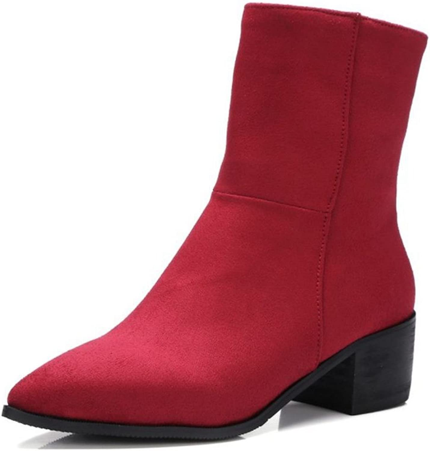 Smilice Large Size & Small Size Women Fashion Pointed Toe Zip Ankle Boots Solid color shoes Black