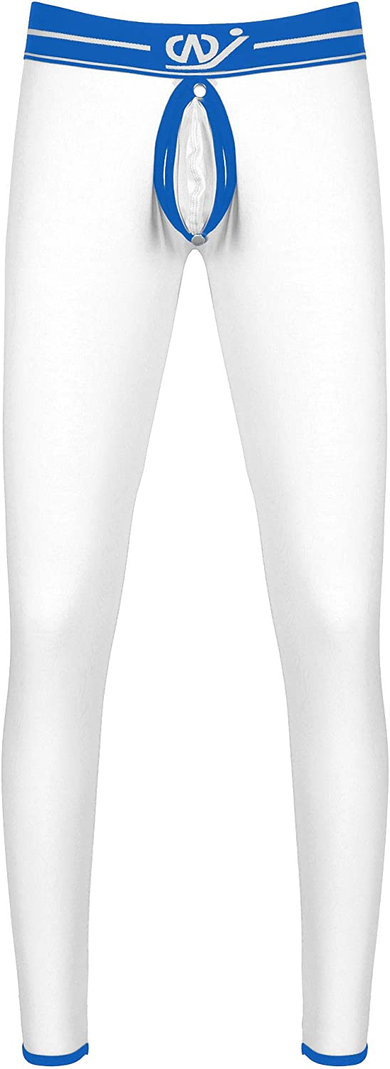 QinCiao Men's Thermal Long Johns Bottomless Underwear Buckled Pouch Male Thermal Leggings Pants