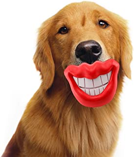 STAJOY Dog Chew Toys,Dog Training Toy Teeth Cleaning Toys Funny Red Lip Smile Natural Rubber,Interactive Treat Dispensing Toys for Puppy,Small to Medium Dogs
