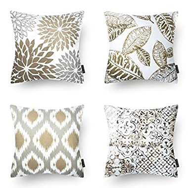 Phantoscope New Living Series Coffee Color Decorative Throw Pillow Case Cushion Cover 18  x 18  45cm x 45cm Set of 4