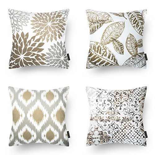 Phantoscope Set of 4 New Living Series Coffee Color Decorative Throw Pillow Case Cushion Cover 18