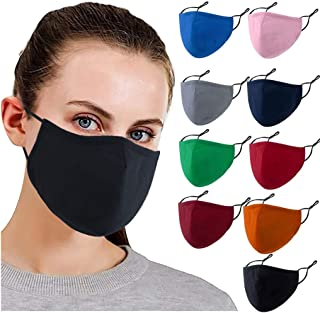 【USA In Stock 】9PCS Adults Cotton Pluggable Gasket Face Bandana_Covering_MASK Face Protection for Women and Men, Multicolo...