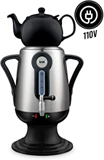 Saki Electric kettle (3.2 l 110 V) Samovar Tea Maker with Porcelain Tea-Pot, Stainless-steel Infuser, Keep Warm Mode - Hot Water Heater - Brew tasty Green, Black, Turkish, Russian, Persian tea (Black)